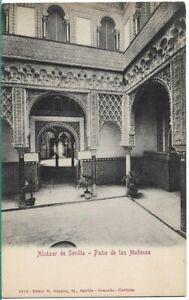 SUPERB OLD POSTCARD - PATIO DE LAS MUNECAS - ALCAZAR DE SEVILLA - SPAIN 1913