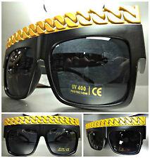 VINTAGE RAPPER HIP HOP SUN GLASSES Matte Black & Gold Chain Link Frame Dark Lens