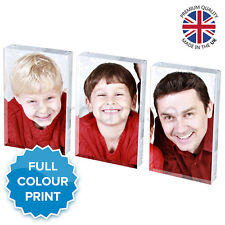 3x Personalised Acrylic Photo Block Picture Frame Gift Set Vision Blox 70 X 45mm