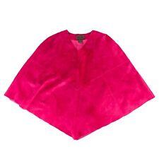 Brandon Thomas Womens Pink Suede Leather Poncho Size M Magenta Fuchsia