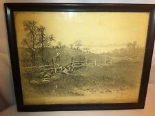 Vtg Black and White Hunting Print signed by artist in frame
