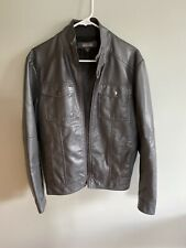 Mens Kenneth Cole Reaction Faux Leather Jacket Grey Size Small