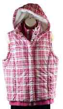 Womens FINL365 Puffer Vest Zip-Front Snap Size L Pink White Removable Hoodie