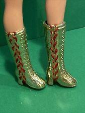 Vintage Barbie Mod Style gold Boots w Red Lacings 1970s Vintage Mattel ⭐️