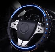 38cm Blue Non-slip Handle Steering Wheel Cases Leather Car Steering Wheel Cover