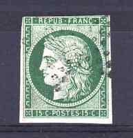 """FRANCE YVERT 2b SCOTT 2 """" CERES 15c DARK GREEN 1850 """" USED VF SIGNED  R208"""