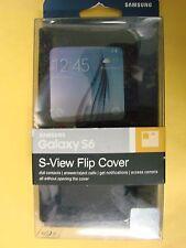 Genuine Samsung S-View Flip Cover Sapphire Black EF-CG920BBEGUS For Galaxy S6