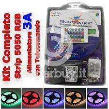 Kit Completo Striscia LED SMD 5050 RGB IP65 5mt Bobina Alimentatore Telecomando