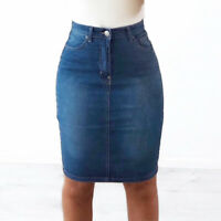 WAKEE MIDI DENIM SKIRT WITH FADED LOOK IN BLUE. SIZE 6-16.