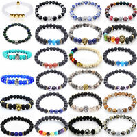 8MM Owl Buddha Beaded Helmet Natural Lava Stone Gold Silver Fashion Men Bracelet