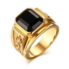 Jewelry Wedding Party Ring Gift 9# Men's Black Zircon Gold Plated Ring Fashion