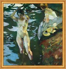 Die Badenden Leo Putz Impressionismus Jugendstil Leinwand Chiemseemaler LW 223