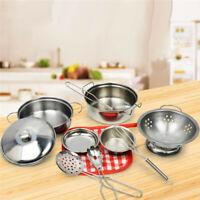 10Pcs Kitchen Cooking Pots Pans Accessories Kids Play Children Cookware Toys