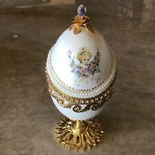 Real Goose Egg Hand Carved Gold Decorated Crystals Hinged on Pedestal NIB