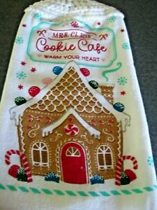 Kitchen Dish Towel With A Crochet Top ~ Cookie Cafe