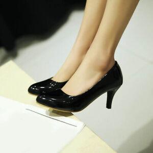 Womens Court Pumps Stilettos Mid Heel Work Shoes Plus Size Office New Lady Shoes