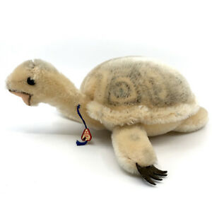 Clemens Turtle Mohair Plush Germany 9in 23cm ID Swing Tag c1960s Vintage