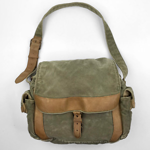 VTG LL Bean Canvas Satchel Messenger Cross Body Shoulder Bag Tote Lap Top w Flap