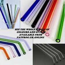 Reusable Eco GLASS Drinking Straws Straight bent borosilicate COLOURED & CLEANER