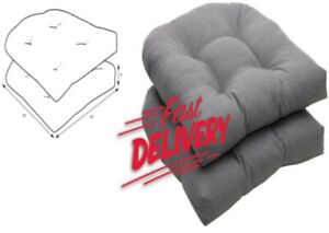 """2 Pack Pillow Outdoor/Indoor Rave Graphite Tufted Seat Cushions 19"""" x 19"""", Gray"""