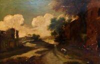 PAYSAGE AVEC RUINES. HUILE SUR TOILE. ÉCOLE ITALIENNE. ITALIE XVII-XVIII