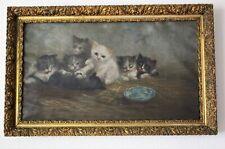 1896 L.ROBERTS signed Art Nouveau Antique Seven Kittens Cats Oil Painting