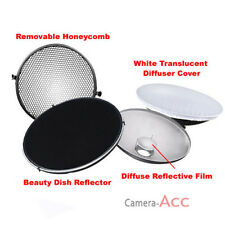 Photo Studio Flash Beauty Dish 42cm Bowens S type Honeycomb + White Diffuser US
