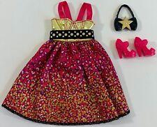 Barbie Fashionistas Gold Pink Leopard Print Dress Fashion Pack VGC!