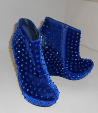 """shiekh's blue SPIKE 5.5"""" HIGH wedge 1.5"""" platform ankle boot  size   7"""