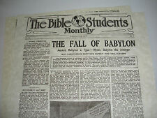 """1917 Bible Students Monthly """"Fall of Babylon"""" Watchtower IBSA Jehovah"""