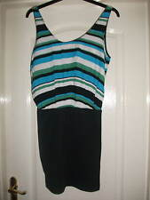 ZARA TRF CONTRAST SHIFT DRESS - BLUE GREEN WHITE BLACK STRIPE VEST BLACK SKIRT S