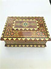 Vintage India Wood Mother of Pearl Bone Inlaid Parquetry Box Hinge Lid