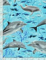 Swimming Sea Dolphin Dolphins SEA C7957 Timeless Treasures Durable Cotton Fabric