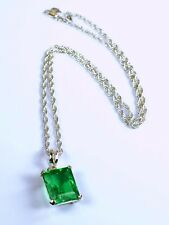 925 Sterling Silver Pendant with Chain 10-12 Carat Emerald Cut Stunning Emerald
