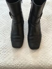 CLARKS Ladies Black Leather Wedge Heel Ankle Boots Size EU 38 UK Well Worn