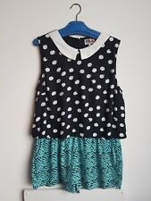 RIVER ISLAND CHELSEA GIRL PLAYSUIT QUIRKY LAGENLOOK SIZE 16 18 DOLLY KAWAII CUTE