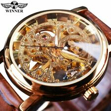 T-Winner Luxury Transparent Gold Case Men's Skeleton Automatic Mechanical Watch