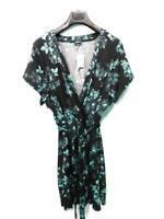 Torrid Size 4 NWT Black Blue Floral Jersey Knit Faux Wrap Dress Short Sleeve NEW