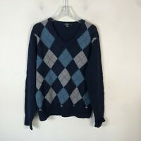 J Crew Lambs Wool Sweater Men's L Navy Blue Checked V Neck Pull Over