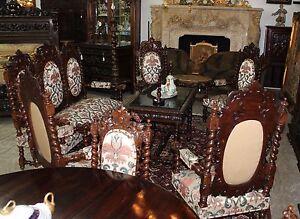 Antique Black Forest Hunt Barley Twist Oak 10 Piece Salon Couch Set C 1860