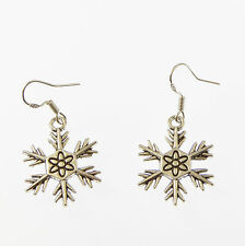 Christmas snowflake dangly drop earrings sterling silver hooks xmas gift snow