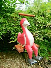 More details for hand carved made wooden flamingo sculpture ornament statue bungee mobile