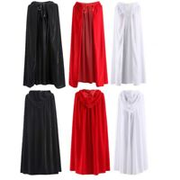 Costume Witch Velvet Cloak Hooded Cape Wedding Robe Christmas Cosplay Black Red