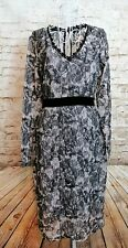 NEXT Womens Black/Beige Lace Style Long Sleeve Midi Occasion Party Dress Size 12