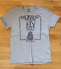 FLY53 vintage Worship T-shirt, grey, size L, VGC Fly 53