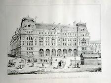 reconstruction Gare Saint Lazare  Paris 1887 vintage print / gravure