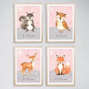 Animal Baby Girl Nursery Prints Childrens Bedroom Decor Pictures Blush Pink Grey