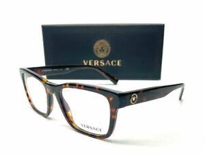 Versace VE3285 108 Dark Havana Demo Lens Men's Square Eyeglasses 55 mm