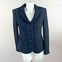 Armani Collezioni Womens Waffle Knit Blazer Jacket Wool Blend Black Size 6