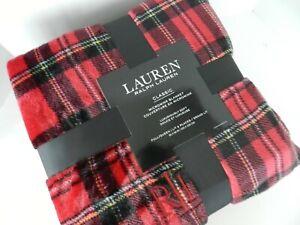 "Ralph Lauren Micromink FULL/QUEEN Soft Plush Tartan Plaid Red Blanket 90""x90"""
